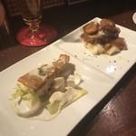 イタリア食堂 il cuore - 本日の魚のソテー、グリーンマスタードソース&栗豚と剥き栗の煮込み