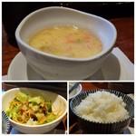 Obubu - ◆上:茶碗蒸し・・良い味わいです。 ◆下:サラダ。ご飯は「金芽米」、美味しいお米です。