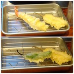 Obubu - 天ぷらは揚げたて・・衣が薄くカラッと揚がっています。 ◆海老とコチ、ししとう。