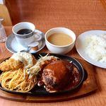 洋食 ぜん - 料理写真:ハンバーグ+カキフライランチ  コーヒー別注
