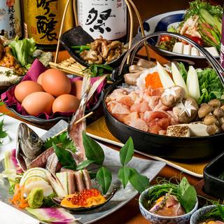 厳選地鶏と新鮮魚介を贅沢に使用!食材にこだわった宴会コース