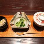 三合菴 - 前菜三種盛りは・・