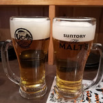 Uo魚 - 生ビール \180 で乾杯♪ 生中が缶ビールよりお安い!