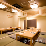 中洲鷹勝 - 全室個室の白木作りを基調とした、心落ち着く空間