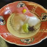 四季のお料理 きくや - 4,000円のお料理の 刺身三種盛り。      2018.01.27