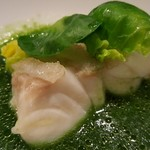 ヒロト - ⑨蒸したスジアラ(長崎県五島列島産)と春菊のピューレを溶かしたスジアラスープ              お正月明けにわざわざ魚の仕入れ先である長崎県五島列島の魚市場を視察して、潮水中放血神経締めの勉強されたのだそうです。