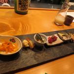 オステリア あんじゅ 西麻布 - コース2品目 前菜盛り合わせ(左から)