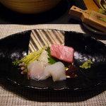 八幡野温泉郷 杜の湯 きらの里 - お造り 季節の地魚盛り あしらい一式 まぐろ、いか、ひらめ