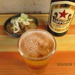 80351892 - サッポロラガービール(中瓶),もつ煮込