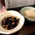 定食とくのう - ヒジキと大豆、胡麻豆腐の小鉢(2018.2.3)
