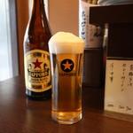 立ち呑み処 三文の徳 - サッポロラガービール中瓶