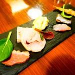 キオッチョラ - 阿波尾鶏モモ肉の自家製ハム、パテ・ド・カンパーニュ、低温調理のトリュフ風味の鴨肉