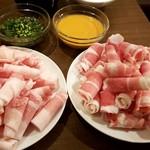 逸品飲茶縁茗 - 国産豚スライス、特選和牛スライス