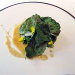 COMMUNICO  - 3.温前菜:烏賊 菜の花 大和まな カラスミソース