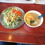 中華料理 八戒 - セットのサラダ&玉子スープも旨い!