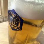 鴨川港 魚魚組 - 「生ビール」タイムサービスで270円也。