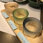 活魚料理 いか清 - 利き酒セット(篠峯・田酒・獺祭)