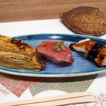 すし処金太郎 - 卵焼き、中トロ、ミズダコ