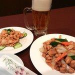日昌園 - 晩酌セット 生ビール+前菜+一品料理 980円