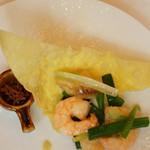 春蘭門 - エビと白身魚葱生姜香り炒め