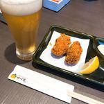 ゆず庵 - 牡蠣フライにビール