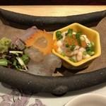 桐の - 睦月旬魚の割鮮、あしらい一式、山葵
