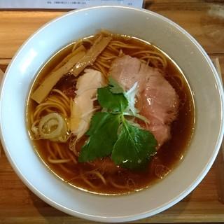 一帆 - 料理写真:軍鶏そば大盛(醤油)750円+100円