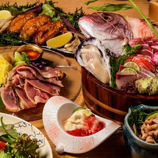 「地の物」名古屋コーチンと「海の物」蟹や金目鯛