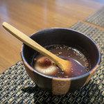 日本蕎麦&鉄板ダイニング 三ヶ森 - デザート「蕎麦団子ぜんざい」。