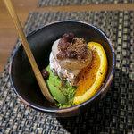 日本蕎麦&鉄板ダイニング 三ヶ森 - デザート「抹茶のミニパフェ」。