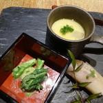 80509558 - お通し(ホタルイカの茶碗蒸し、青菜の和え物、鯖ずし)