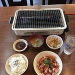 かしわ網焼食堂 しんさん - A定食  ハラミ・ムネ肉  ¥824