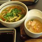 ゆず庵 - 「にぎり寿司三昧と串揚げ膳」九条ねぎのハリハリうどん、かに茶碗蒸し