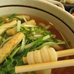 ゆず庵 - 「にぎり寿司三昧と串揚げ膳」の九条ねぎのハリハリうどん