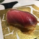 第三春美鮨 - シビマグロ 121kg 腹下 中トロ◇漬け 熟成5日目 定置網 富山県氷見