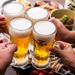 居酒屋よっちゃん - プレミアム宴会コース☆鮮魚のお刺身5種、鶏刺し等+生ビール付3H飲み放題コース