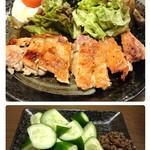 ばんぶー - 上 チキンステーキ・下 梅キュー(自家製の梅味噌)