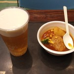 れすとらん 津花館 - ハンバーグスープカレー&生ビール(サッポロクラシック)