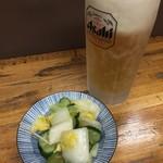 鳥源 札幌店 - 生ビール&浅漬けの漬物