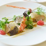 アルピーノ - 料理写真:オマール海老と帆立貝と旬菜のサラダ仕立て トリュフドレッシング