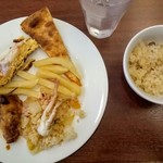 フェスタガーデン - 松茸ご飯、ケサディーアと蟹玉、蟹ピラフ、フライドポテト、チキンのローズマリー風味