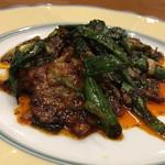 天鳳 - 豚肉と葉ニンニクの回鍋肉
