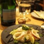 SARU Wine Japan Bistro - 魚介の鍋島レモンマリネ、濃厚カブのソース