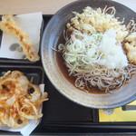 ゆで太郎  - 料理写真:朝そば(鬼おろし)冷やしぶっかけ330円&クーポンで海老天150円が無料(2017.12.29)