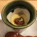 旬美にしかわ - 梅肉の乗った茶碗蒸し。