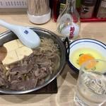 あづま - 牛なべ卵付き600円+お酒400円