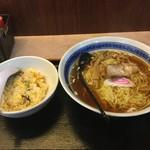 中華食堂 萬里 - 正油らーめん半盛丼セット(炒飯)