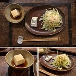 手造り食の店しもだ - 【阿蘇赤牛のハンバーグ(1,600円)】小鉢(テリーヌ)と特製サラダ