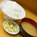 山家 - ロースかつ定食(大)(950円)のご飯・味噌汁・漬物2019年2月