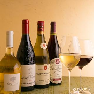 ワインの種類が豊富。